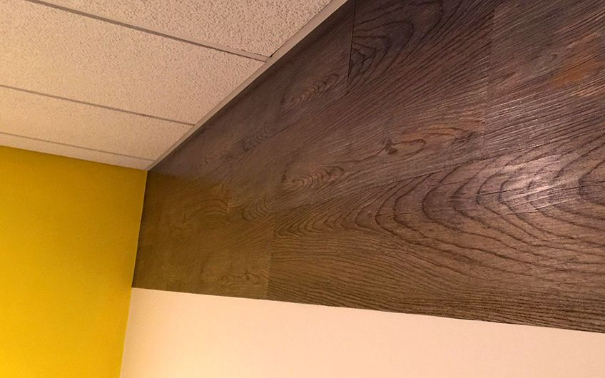 The wood wall has great texture